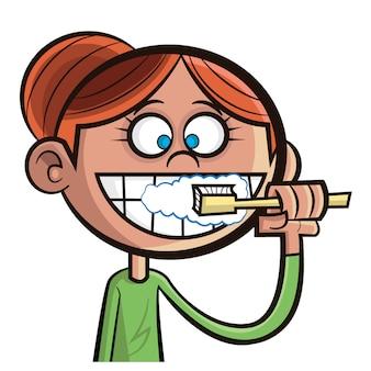 彼女の歯を磨くの女の子