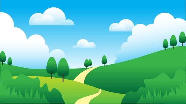 空、雲、木、丘の背景