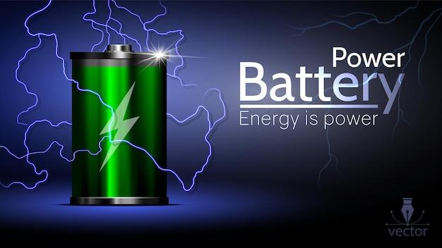 Красивая реклама зеленой батареи с молнией вокруг.