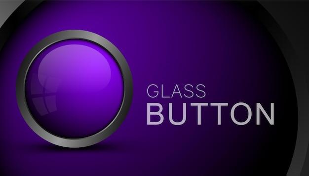 Стеклянная фиолетовая пустая кнопка для сети. кнопка для интерфейса приложений и игр.