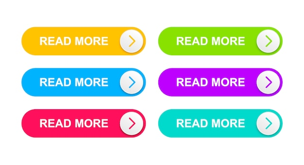 Веб-кнопки оранжевого, ярко-синего, красного, зеленого, фиолетового и бирюзового цвета.