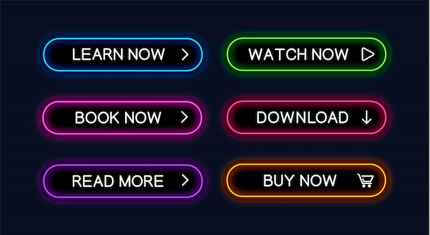 Набор неоновых светящихся кнопок для веб-дизайна.