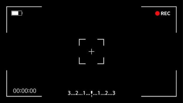 インターフェイスビューファインダーデジタルカメラ。黒い背景でビデオカメラのビューファインダーテンプレートを記録します。