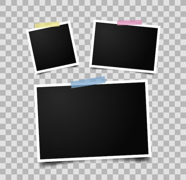 Набор пустых рамок для фотографий с клейкой лентой. реалистичная рамка для фотографий.