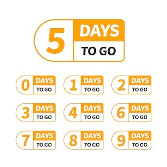 Обратный отсчет оставил дни баннера для использования в маркетинге и дизайне рекламы. девять, восемь, семь, шесть, пять, четыре, три, два, один, ноль дней осталось. считать время продажи теги установлены.