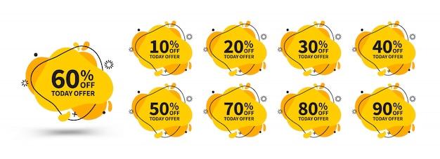 Установлены желтые дисконтные баннеры. яркие шаблоны баннеров. шаблон готов для использования в интернете или полиграфического дизайна.
