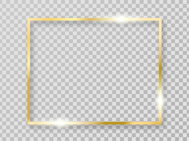 Золотая блестящая рамка с тенями, изолированные на прозрачном фоне. золотая рамка для украшения.