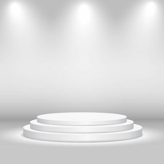ライトと空の円形ステージ