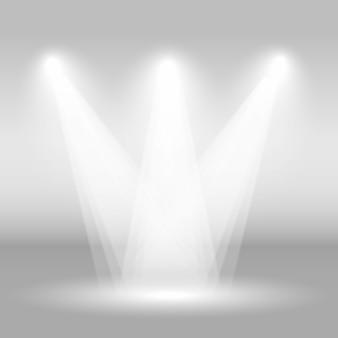 ライトが付いている空のステージ