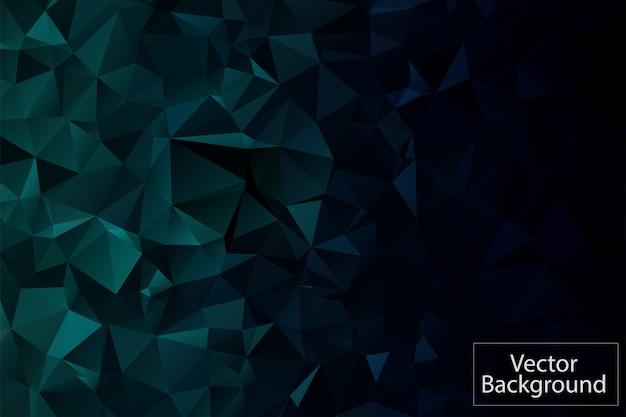 濃い緑色の多角形のモザイクの背景