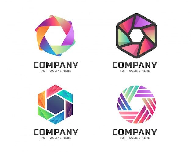 ビジネスカメラの写真のロゴのテンプレートセット