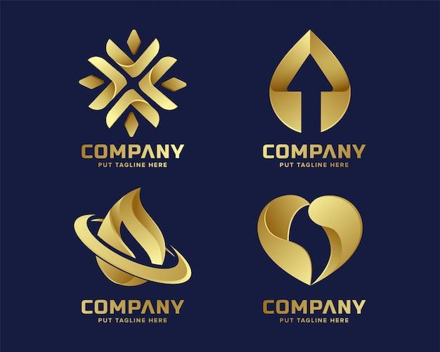 ビジネスのための抽象的な高級ゴールデンロゴテンプレート