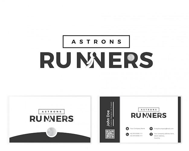 Логотип бегуна астронавта с визитной карточкой канцелярских товаров