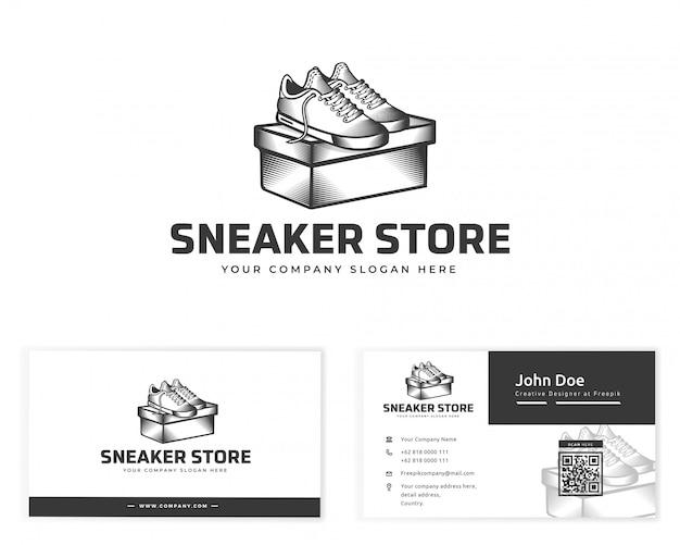 Логотип магазина кроссовок с визитной карточкой канцелярских товаров