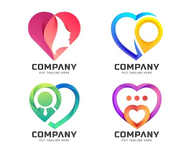 Коллекция креативных красочных логотипов любви