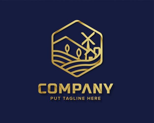 Золотой деревенский логотип