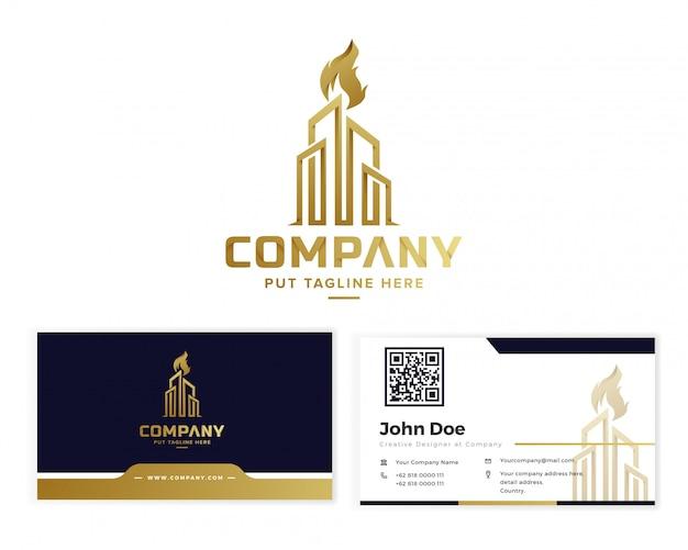 名刺と黄金の企業建物トーチロゴ