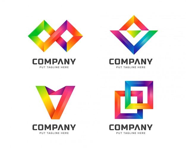 抽象的な創造的な虹のロゴ