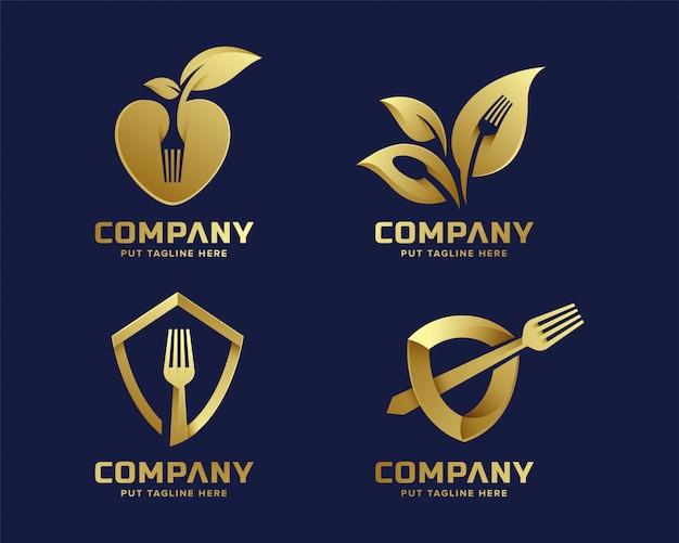 Креативный шаблон логотипа вилка с золотым цветом