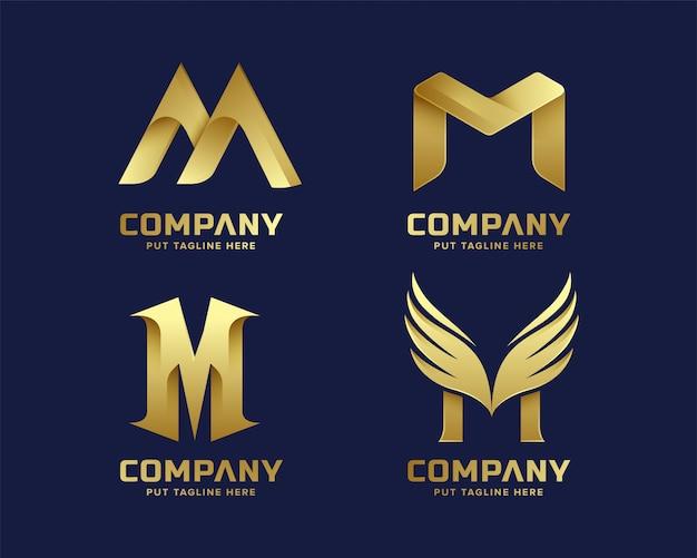 Золотая начальная буква м логотип