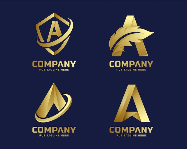 Золотое начальное письмо коллекция логотипов