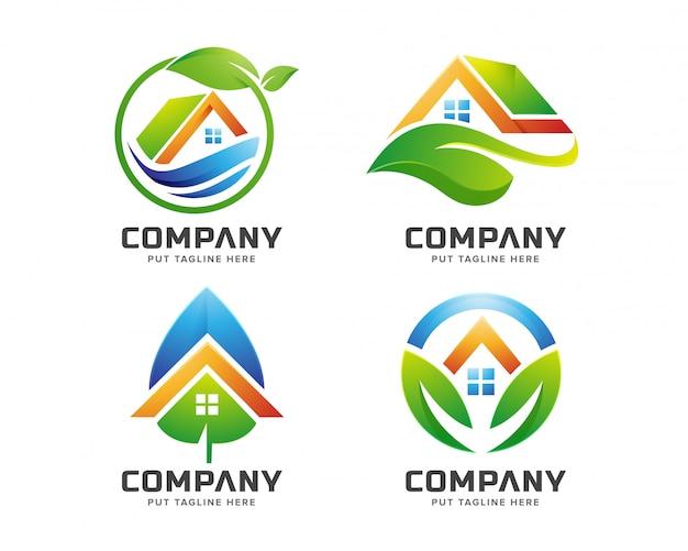 会社の緑の家のロゴのテンプレート