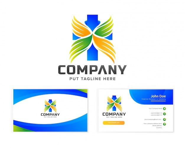 名刺を持つ会社の医療病院のロゴのテンプレート