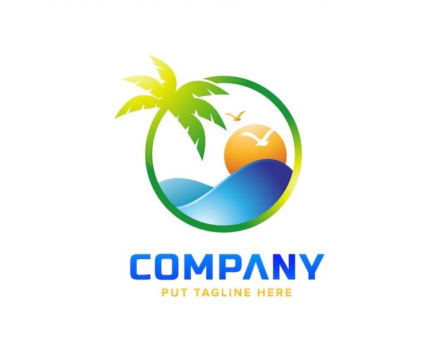 Креативный пляжный логотип
