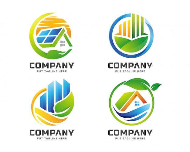 会社の自然環境の実在の建物のロゴのテンプレート