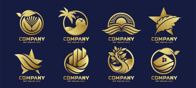 ビジネス立ち上げと会社のためのプレミアムラグジュアリーエコネイチャーロゴ