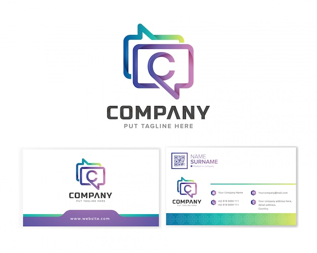 Шаблон логотипа компании обмена сообщениями с визитной карточкой