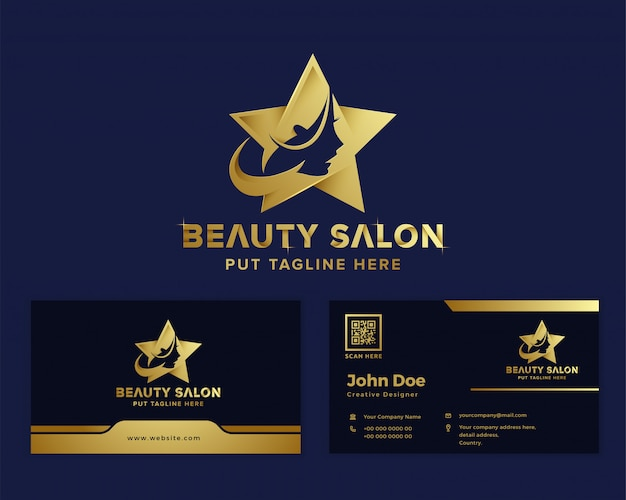 Премиум-салон красоты женственный логотип шаблон