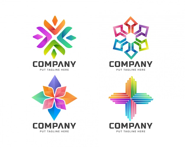 抽象的なカラフルなロゴのコレクション