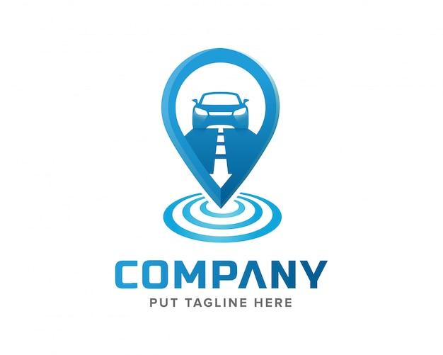 Креативный шаблон отслеживания сигнала и дизайн логотипа автомобиля