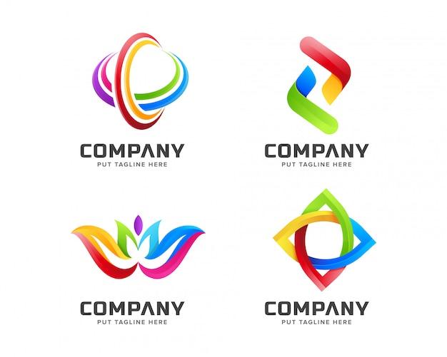 抽象的な形とグラデーションビジネスカラフルなレインボーロゴのテンプレート