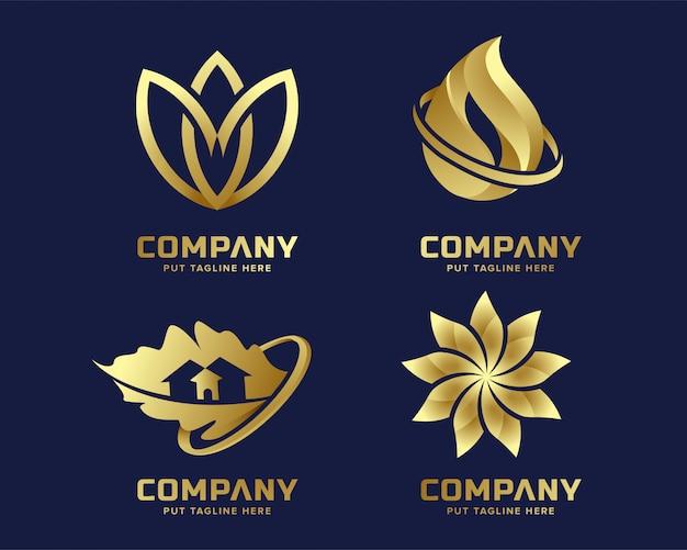 ゴールドビジネスの豪華さと抽象的な形をしたエレガントなロゴのテンプレート