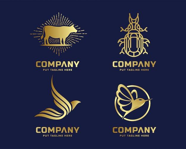 ゴールドビジネスの豪華さとエレガントな動物のロゴのテンプレート