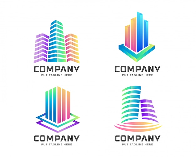 Коллекция красочных логотипов недвижимости