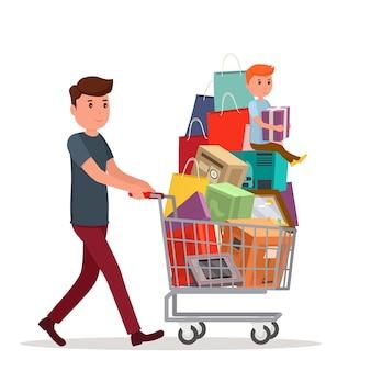 食べ物の完全な買い物かごを持つ男。