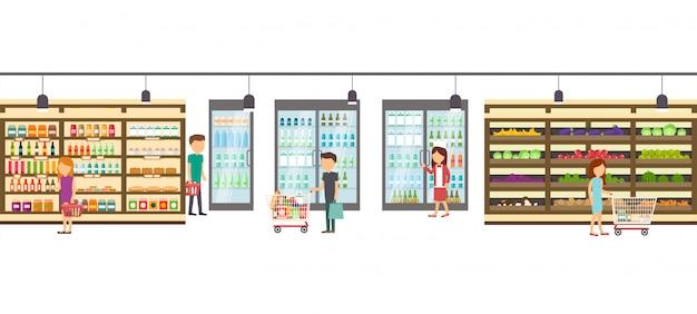 商品とスーパーマーケット店。大きなショッピングセンターインテリア店内。ショッピングモール内のシーン。
