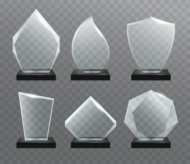ガラス透明トロフィー賞