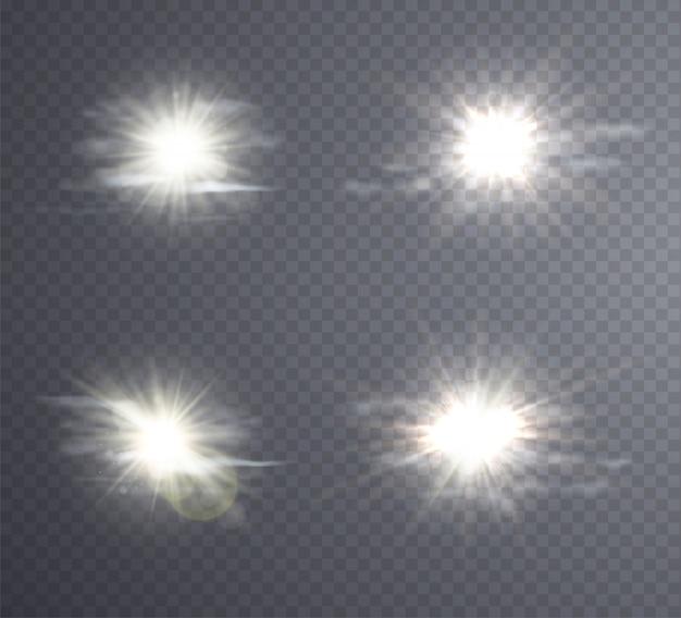 抽象的な白い太陽フレア