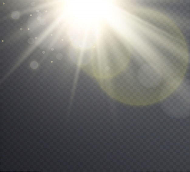 抽象的な黄金の太陽フレアと光線