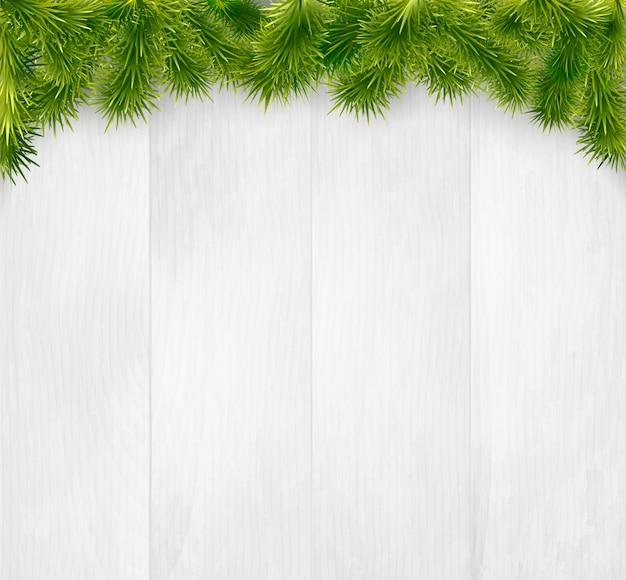 Зима новогодняя деревянная с еловыми ветками