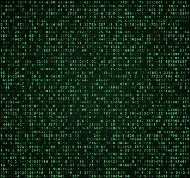 数字付きの緑色の行列