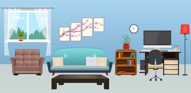 家具付きのリビングルームのインテリア