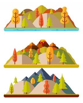 秋の自然風景、丘や山々、自然の風景
