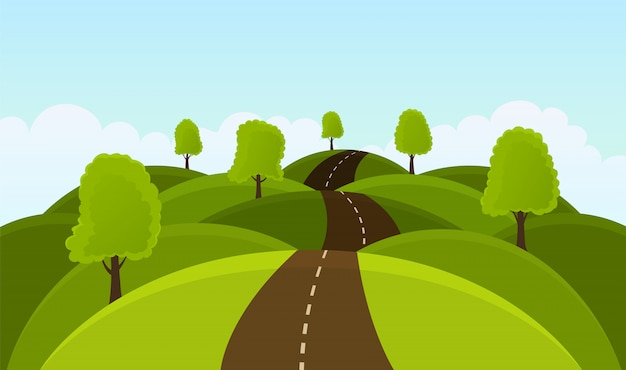 Дорога на холмах среди деревьев и лугов.