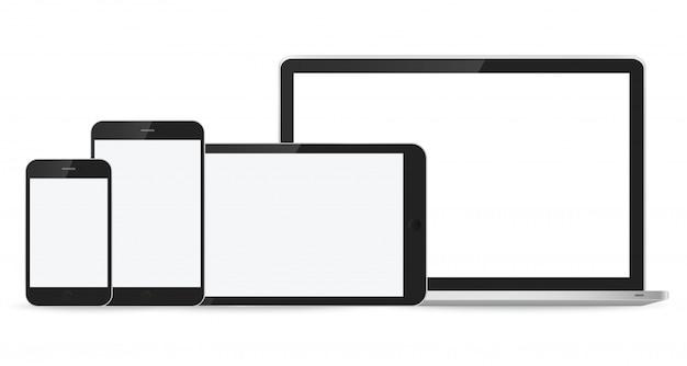 白のラップトップ、スマートフォン、タブレットのモックアップ