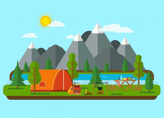 夏の風景。川の近くの山でテントとピクニックバーベキュー。ハイキングとキャンプ。